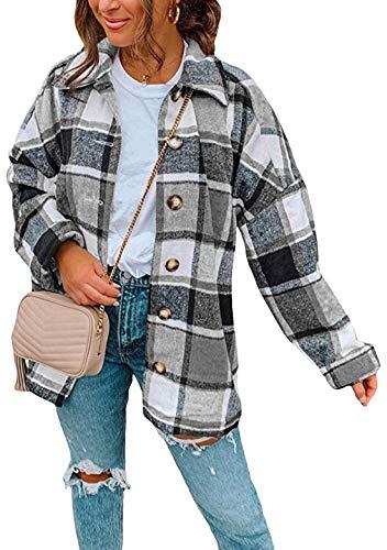 OMZIN Kariertes Hemdjacke Damen Hemdbluse Holzfällerhemd Karo Hemd Jacke Oversize Freizeitjacke Bluse Mantel Langarm Boyfriend Grey S