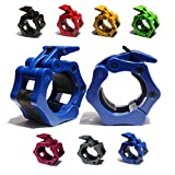 """AbraFit 2"""" Olympic Barbell Clamps - Solid ABS Locking Barbell Collars with Quick Release - for Professional Training Strong Lifts and Olympic Training- Set of 2 (Blue)"""
