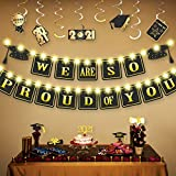Graduation Decoration 2021, 61 PCS We are So Proud of You banner Set, LED Grad Garland Sign with Fairy String Lights, Hanging Swirls and Cupcake Topper for College High School Party Supplies