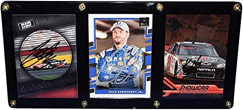 3X AUTOGRAPHED Dale Earnhardt Jr. / Tony Stewart/Kevin Harvick THREE CARD DISPLAY CASE (9.5X4.5 Inch) TOP CUP DRIVERS Multi Signed NASCAR Trading Card Set with COA
