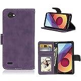 Sangrl Libro Funda para LG Q6 / Q6a / Q6+ / M700, PU Cuero Cover Flip Soporte Case [Función de Soporte] [Tarjeta Ranuras] Cuero Sintética Wallet Flip Case Púrpura