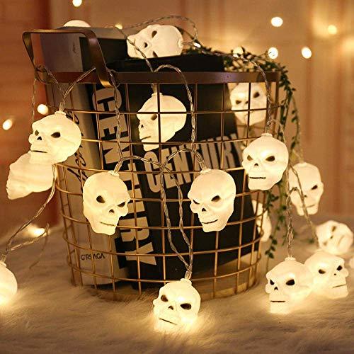Cráneo de Halloween luces de cadena, fantasma de la linterna, luces de cadena 6M 40 LEDs Colgando del horror de Halloween decoración, iluminación con luz intermitente modos de funcionamiento a pilas a
