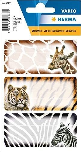 """HERMA 5877 Buchetiketten \""""Afrikanische Tiere\"""" selbstklebende Heftetiketten mit Motiven für die Schule für Kinder, Mädchen und Jungen, 9 Schuletiketten"""