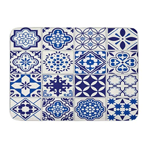 Alfombras de baño Alfombras de baño Alfombrilla para exterior / interior Patrón marroquí Lisboa Mosaico floral Mediterráneo Azul marino Arabesque mexicano Decoración de baño Alfombra Alfombra de baño