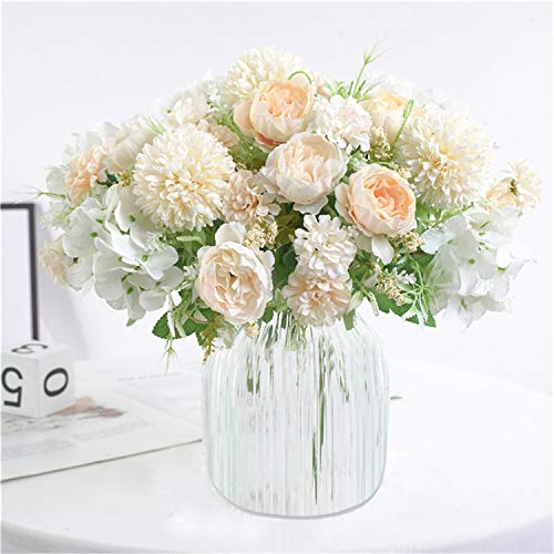Homcomodar Ramos de flores artificiales, 2 paquetes de peonías falsas de seda de hortensias de plástico para arreglos de flores, centros de mesa, decoración de bodas y fiestas, Blanco, 2 unidades