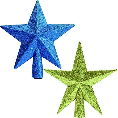 BoBofly 2 Pack Glittered Mini Star Christmas Tree Topper Star Treetop for Small Christmas Tree Ornaments (Blue and Golden)