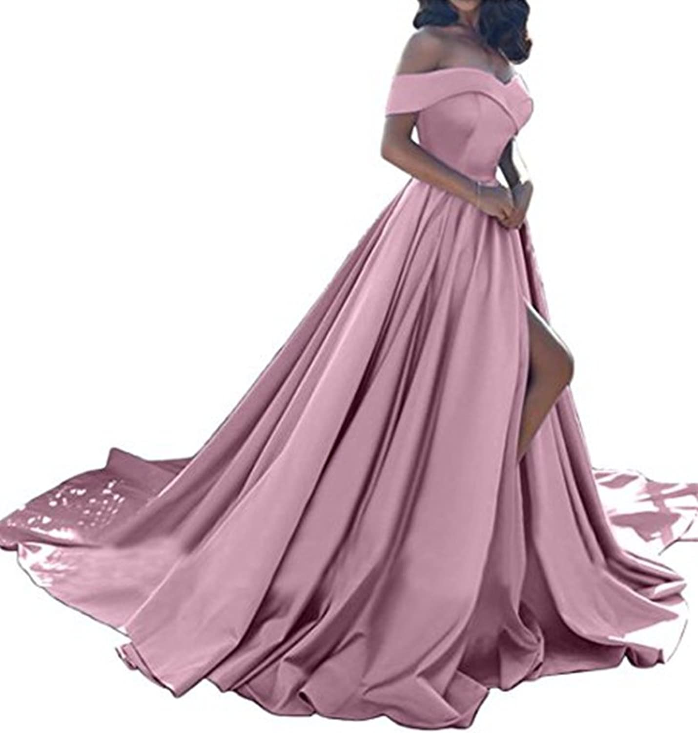 Jdress Women's Off The Shoulder A Line Prom Homecoming Dress with Split Long Evening Gowns