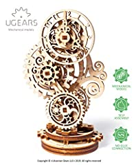 ORIGINAL MECHANICAL MODEL KIT Ugears created miniature imitation of a clock with a delicate carved body. Wooden construction kit has clever mechanism that sets its gears in motion and gets the hands of the clock moving HIGH QUALITY Plywood constructi...