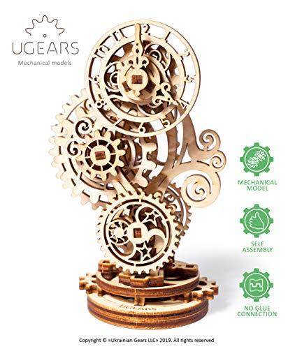 Ugears Steampunk-Uhr 3D Holzpuzzle - Holzuhr Mechanischer Modellbausatz - DIY Modellbausätze für Erwachsene, Jugendliche und Kinder - Ideales Weihnachts- und Neujahrsgeschenk - Wunderschöne Wohnkultur
