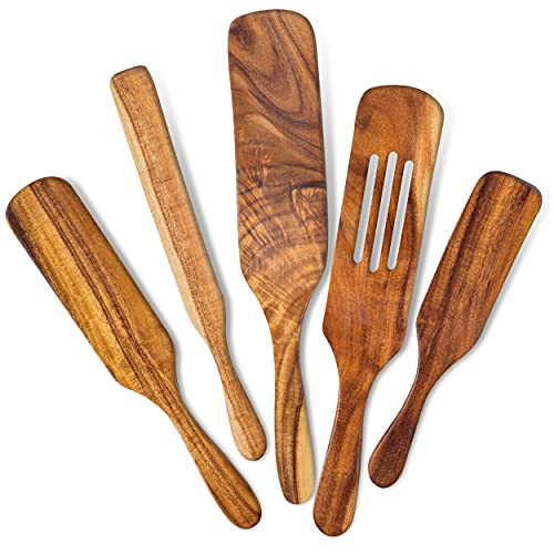 Wooden Spurtle Set Of 5 For Cooking, Acacia Wood Utensils For Kitchen, Heat Resistant Spoon, Non-Stick Tool Sets, Verstile Tools, As Seen On TV Bamboo Spatulas, Premium Utensil Spoons