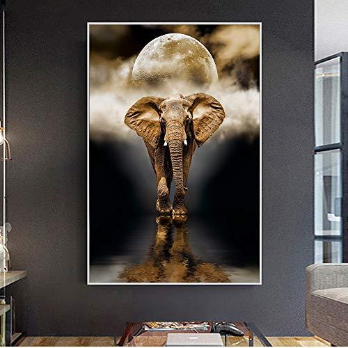 Sanzangtang Nordic creatieve olifanten wandschilderij druk op canvas kunstdruk dier zwart-wit dier wandschilderij woonkamer zonder lijst