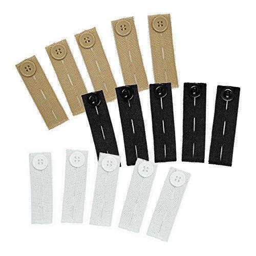 Elastiche Taillen-Erweiterungen (15er-Pack mit verschiedenen Farben), starke, verstellbare Hosen-Erweiterungen für den Knopf, in schwarz, weiß & khaki, von Comfy Clothiers
