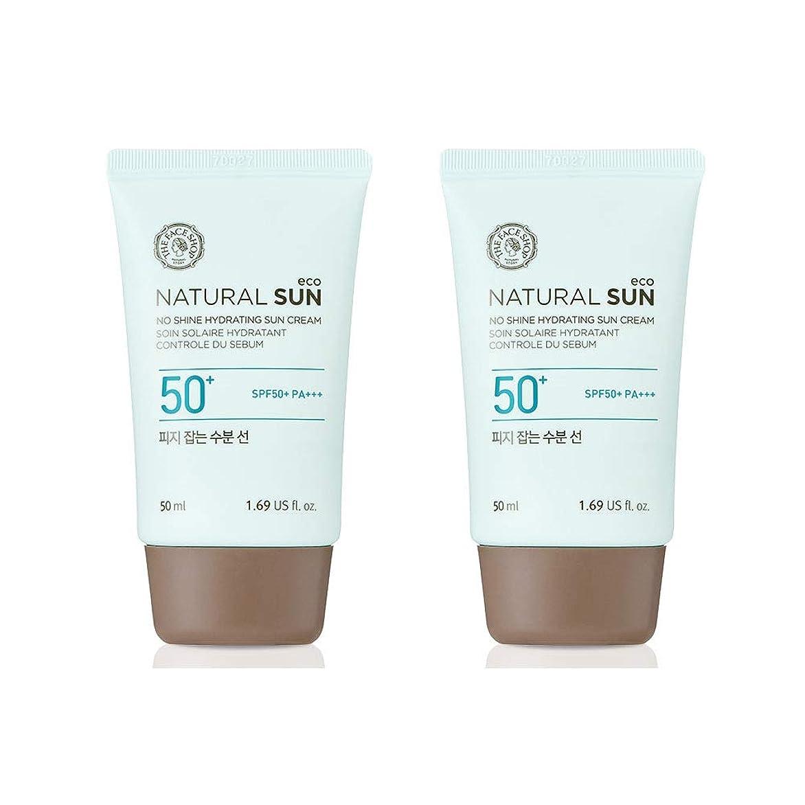 残基ユーモアハブザ?フェイスショップネチュロルソンエコフィジーサン?クリームSPF50+PA+++50ml x 2本セット韓国コスメ、The Face Shop Natural Sun Eco No Shine Hydrating Sun Cream SPF50+ PA+++ 50ml x 2ea Set Korean Cosmetics [並行輸入品]
