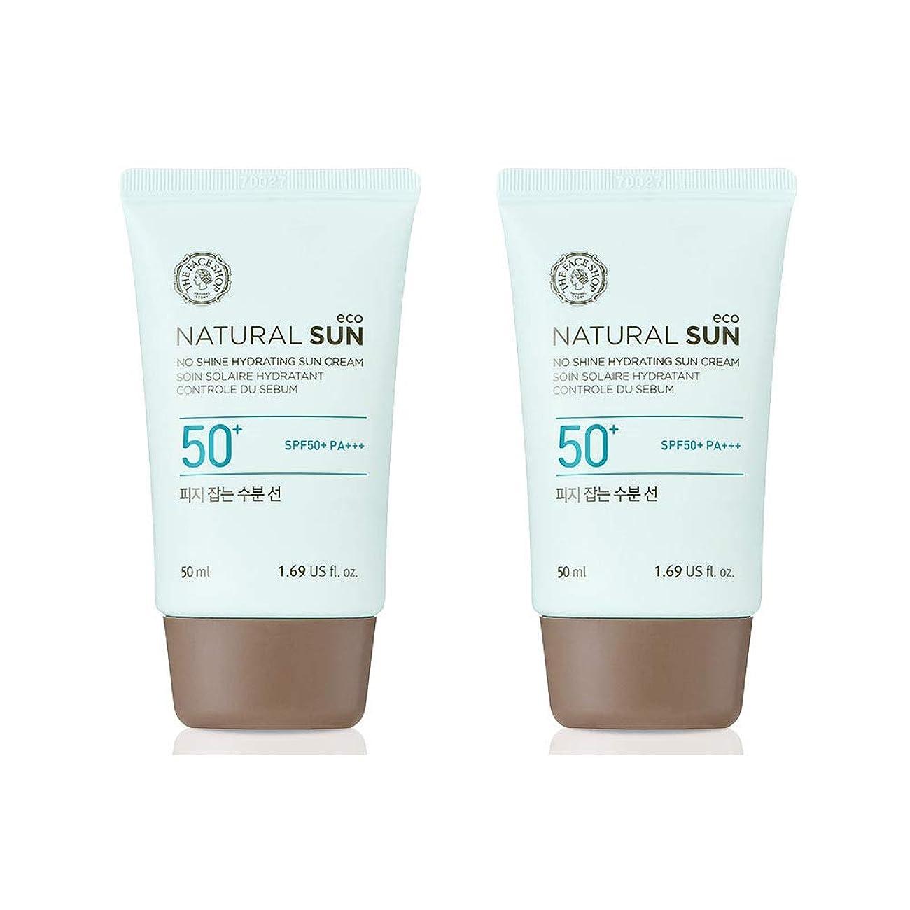 よろめく落ち着くクッションザ?フェイスショップネチュロルソンエコフィジーサン?クリームSPF50+PA+++50ml x 2本セット韓国コスメ、The Face Shop Natural Sun Eco No Shine Hydrating Sun Cream SPF50+ PA+++ 50ml x 2ea Set Korean Cosmetics [並行輸入品]