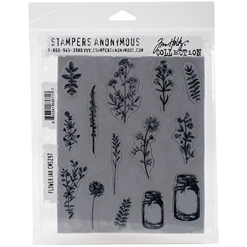 Art Gone Wild AGCMS297 Tim Holtz Flower Jar Cling Rubber Stamp Set, Synthetic Material, Multi-Colour, 24.5 x 18 x 0.6 cm