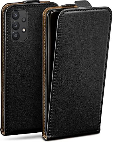 moex Flip Hülle für Samsung Galaxy A32 5G - Hülle klappbar, 360 Grad Klapphülle aus Vegan Leder, Handytasche mit vertikaler Klappe, magnetisch - Schwarz