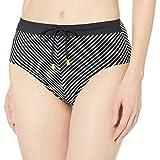 La Blanca Women's Belted High Waist Hipster Bikini Swimsuit Bottom, Black/White//pin Stripes, 10