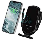 LUKKAHH Wireless Car Charger Mount,Auto-Clamping Air Vent Phone Holder,10W Qi Fast Car Charging,Compatible iPhone 12/12Pro/11 /Pro/XS/XS Max/X/8/8+, Samsung Note9/Note10/S9+/S10+(Jet Black)