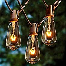 Afirst Outdoor String Lights 20FT with 22 Edison Bulbs Vintage Bistro Lights Waterproof ST40 String Lights for Patio Backyard Party Wedding-Brown Cord