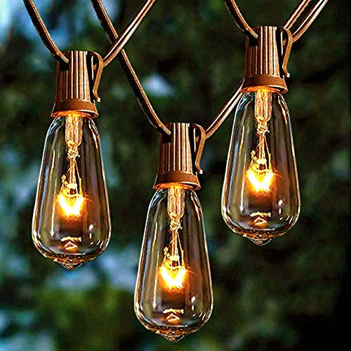 Afirst Outdoor String Lights 20Ft with 20 Edison Bulbs Vintage Bistro String Lights Waterproof Patio String Lights for Garden/Backyard Party/Wedding-Brown Cord