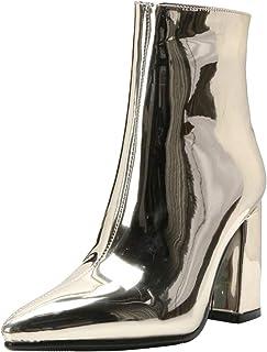 RAZAMAZA Mujer Moda Tacón Ancho Botas de Tobillo Cremallera