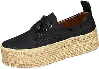 Malbaba Women's Platform Espadrilles, Ladies Ankle Flat Loafers Slip On Flock Roman Casual Shoes
