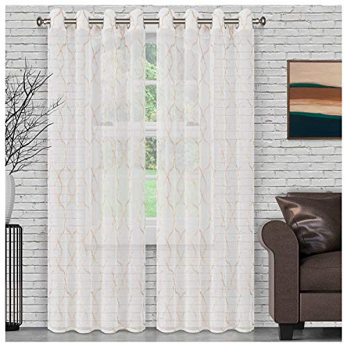 SUPERIOR Quality Lightweight Embroidered Lattice Sheer Stainless Grommets Window Treatment Curtain Panel (Set of 2) 52