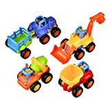 Coolecool Push and Go Friction Powered Cars Pull Back Vehicles Trucks for Baby Toys 18 Months and Up (4 Play Vehicles: Tractor, Bulldozer, Dumper, Cement Mixer)