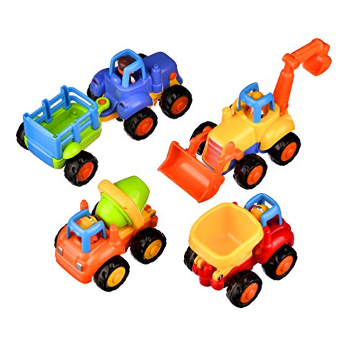 Coolecool Push and Go Pull Back Vehicles Friction Powered Cars for Baby Toys 18 Months and Up 4 Play Vehicles: Tractor Bulldozer Dumper Cement Mixer