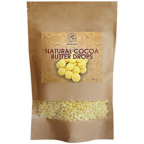 Pastilles de Beurre de Cacao 500g - 100 % Pur & Naturel - Beurre de Cacao Theobroma - Organic Raw Cacao Drops - Beurre de Cacao Pellets - Riche Antioxydants