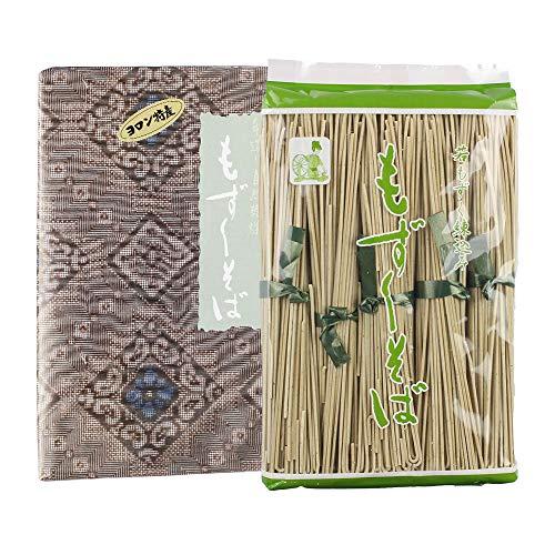 もずくそば 大 デラックス 100g×5束 化粧箱入り×6箱 ヨロン島 小麦粉に栄養分たっぷりのもずくを練りこみそば状にしました 水も添加物も不使用 大島紬柄紙にて包装 贈答用に