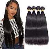 Fastest Delivery 10A Brazilian Straight Hair 4 Bundles 20' 22' 24' 26' Virgin Straight Human Hair Bundles Brazilian Virgin Hair Unprocessed Remy Hair Bundles Natural Color