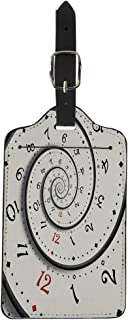 Semtomn Luggage Tag Abstract Modern White Spiral Clock Fractal Twisted Watch Unusual Suitcase Baggage Label Travel Tag Labels