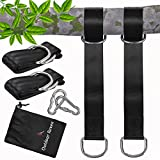 Swing Straps for Tree Branch, Heavy Duty 5 ft Polyester Straps Hold 2200 lbs, Safety Lock Carabiners, Portable Carry Pouch, Easy Installation, Perfect Tree Swing Straps Hanging Kit by Outdoor Raven