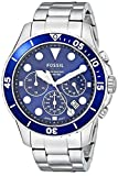 Fossil Men's FB-03 Quartz Stainless Chronograph Watch, Color: Silver, Blue Dial (Model: FS5724)