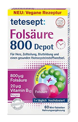 tetesept Folsäure 800 Depot – Nahrungsergänzungsmittel mit Depot-Technologie - inklusive aller B-Vitamine für eine Rundumversorgung - Vegan – 1 x 60 Minitabletten