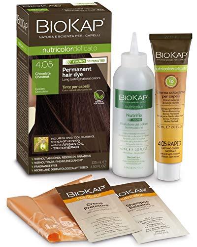 BioKap Chocolate Chestnut 4.05 Rapid Haarfarbe 135 ml - wirkt in nur 10 Minuten, permanente, vegane & natürlich pflegende Formel für empfindliche Haut geeignet