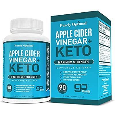 Premium Apple Cider Vinegar + Keto Pills - Apple Cider Vinegar Capsules Plus Keto Bhb Salts to Utilize Fat for Fuel, Boost Energy, Focus & Metabolism, Non-GMO Keto Supplement - 90 Vegan ACV Pills