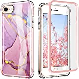 PIXIU Compatible with iPhone SE 2020 Case/iPhone 8/7 /6 case with Screen Protector, Lightweight Full Body Shockproof Protective Rugged TPU Case for Apple iPhone SE 2020/8 / 7 4.7 inch Marble