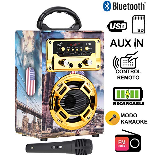 Dynasonic 120-3 - Mini Altavoz Bluetooth Portátil, Color Dorado