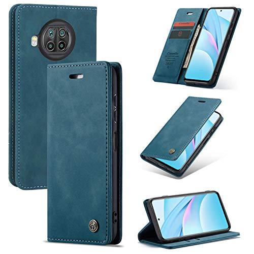 KONEE Hülle Kompatibel mit Xiaomi Mi 10T Lite 5G, Lederhülle PU Leder Flip Tasche Klappbar Handyhülle mit [Kartenfächer] [Ständer Funktion], Schutzhülle für Xiaomi Mi 10T Lite 5G - Blaugrün
