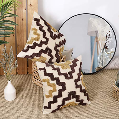 Deconovo Pack of 2 Decorative Cotton Cushion Covers 18x18 Inches Square Embroidery Ladder Pattern Throw Pillow Protectors for Living Room with Invisible Zipper Brown and Khaki