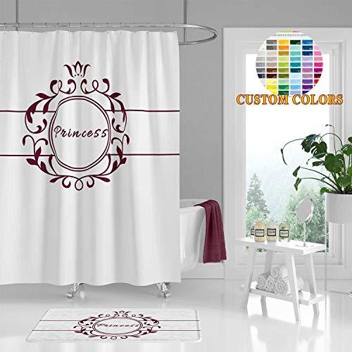 ArthuereBack Prinzessin Duschvorhang personalisierte Mädchen Badezimmer Dekor Burg& weiß Bad Vorhang benutzerdefinierte Farben anpassbare Namen