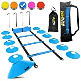 Bltzpro Football & Soccer Training Equipment - 12 Cones & 20 Ft. Agility Ladder Speed Practice kit for Kids and Coaches - Conditioning & Footwork Workout Gear -with 2 Bags & Agility Drills eBook-Blue
