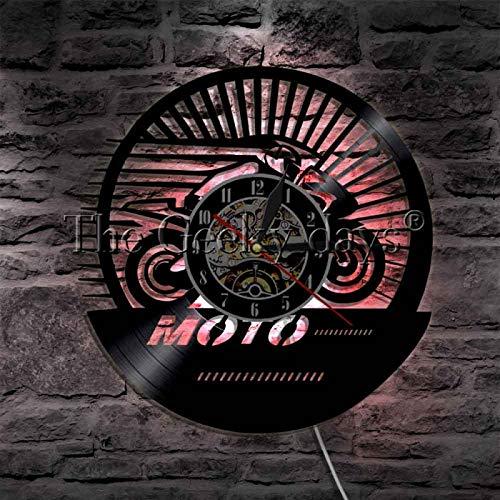 LIMN Reloj de Pared 3D Estilo Retro Anuncio clásico de Carreras de Motos Señal de luz LED Diseño Vintage Reloj de Pared con Disco de Vinilo Iluminado Lámparas de Pared LED para Interiores