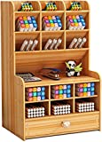 Organizador de Escritorio de Madera Papelería Multifuncional Caja de Soporte de Bolígrafo para Oficina en Casa Rack de Almacenamiento de útiles Escolares con Cajón (Cereza-b16)