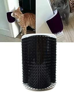 UPREE Self Groomer with Catnip,Cat Wall Corner Massager Cat Brush Cat Toy Black