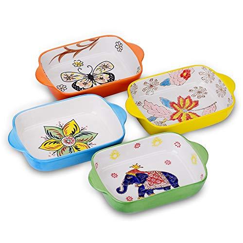 Bakeware Set,Rectangular Baking Pan Ceramic Glaze Baking Dish for Cooking, Kitchen, Cake Dinner, Banquet and Daily Use, 4 Pack of Rectangular