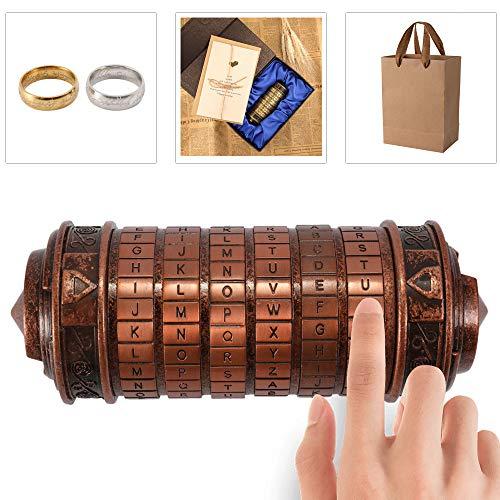 Blusea Da Vinci Code Mini Cryptex Zylinderschloss Box Retro Alphabet Sperren zum Spaß Romantisches Valentinstag Geburtstag Hochzeitsgeschenk Mit Exquisit Verpackung
