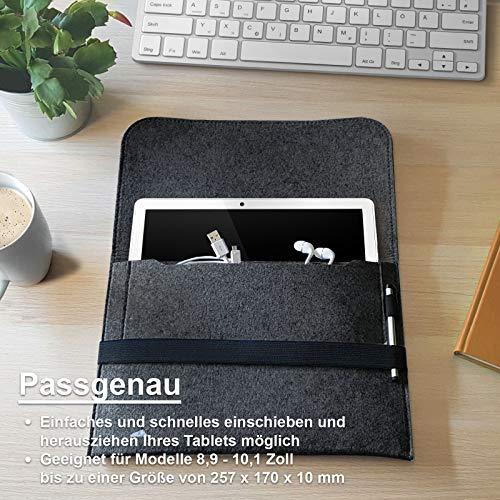 ROYALZ Filz Tasche für Apple iPad 2020 Filzhülle 10.2 Zoll (iPad 10.2 Zoll 8th Gen) Schutzhülle Sleeve Design Hülle Cover Case, Farbe:Dunkelgrau